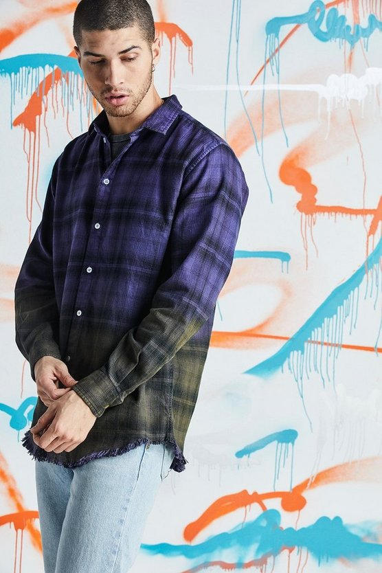 Mens Purple Quavo Oversized Dip Dye Check Shirt
