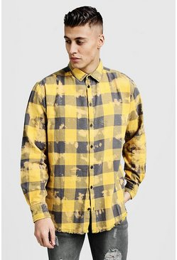 Herr Yellow Oversized Dip Dye Check Shirt
