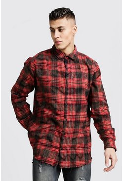 Mens Red Bleached Loose Fit Check Shirt