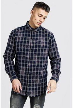 Navy Bleached Loose Fit Check Shirt