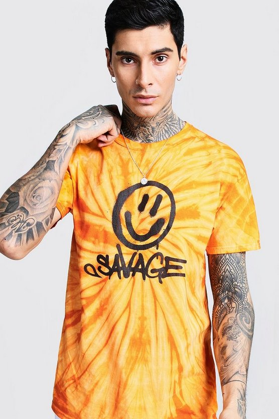 Mens Orange Savage Face Print Tie Dye T-Shirt