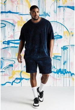 Mens Navy B&T Quavo Tie Dye Velour T-Shirt & Short Set