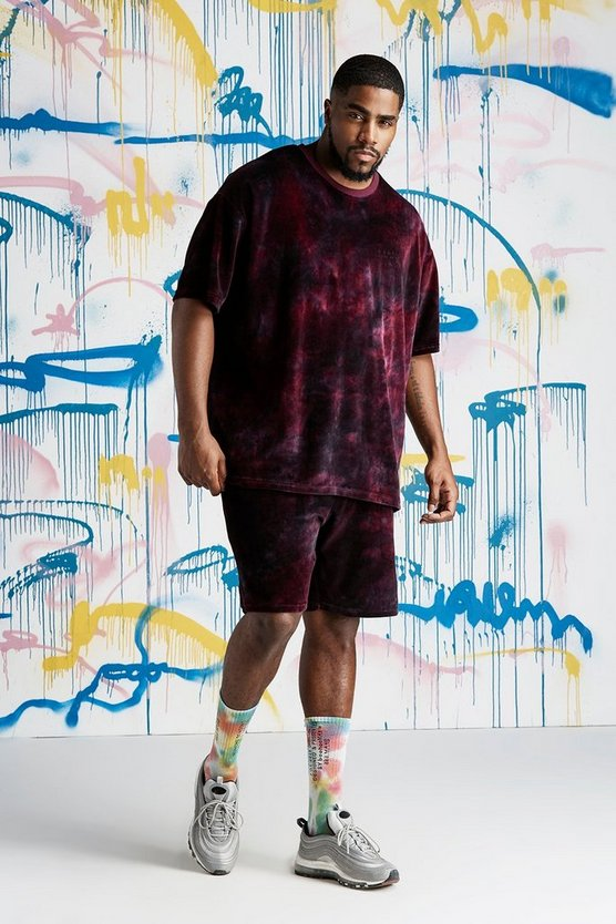 Mens Burgundy B&T Quavo Tie Dye Velour T-Shirt & Short Set