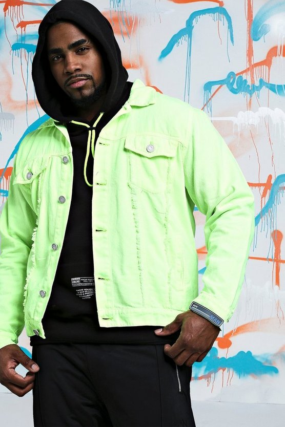 Mens Lime Big & Tall Quavo Distressed Denim Jacket