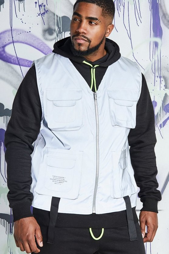 Mens Silver Big & Tall Quavo Reflective Utility Vest