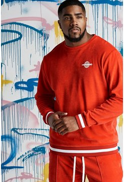 Mens Red Big & Tall Quavo Velour Sweater With Rib
