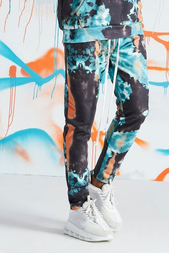 Mens Teal Quavo Tie Dye Skinny Jogger With Print