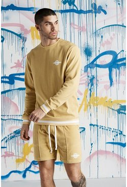 Mens Gold Quavo Velour Sweater With Rib