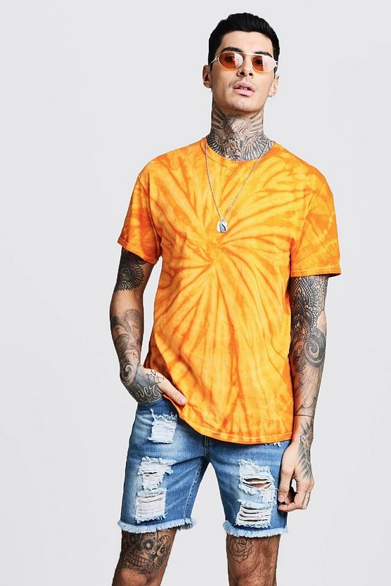 Mens Orange Plain Tie Dye T-Shirt