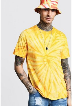 Mens Yellow Plain Tie Dye T-Shirt