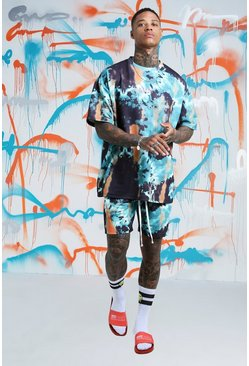 Mens Teal Quavo Oversized Tie Dye T-Shirt & Short Set