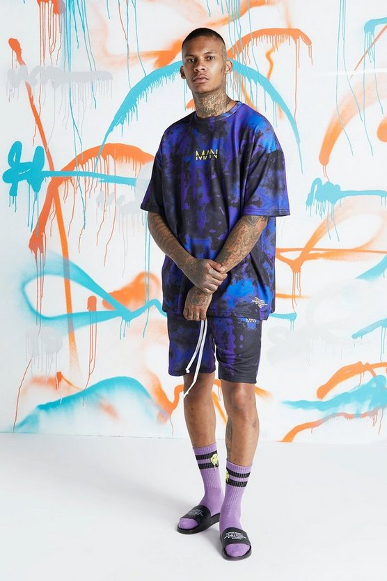 Mens Blue Quavo Oversized Tie Dye T-Shirt & Short Set
