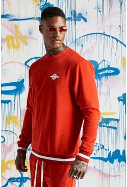 Mens Red Quavo Velour Sweater With Rib