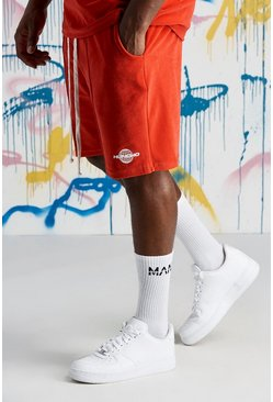 Mens Red Big & Tall Quavo Velour Short With Print