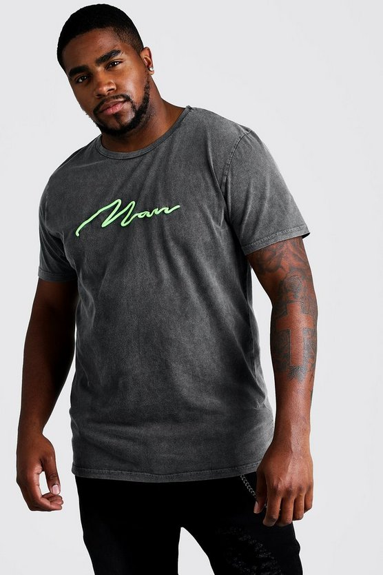 Mens Grey Big & Tall Quavo Loose Fit Acid Wash MAN T-Shirt