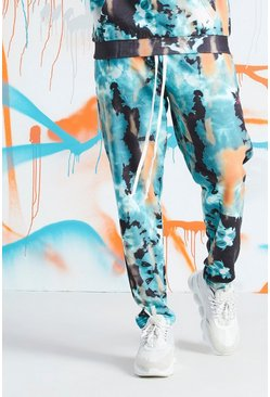 Mens Teal Big & Tall Quavo Tie Dye Skinny Jogger With Print