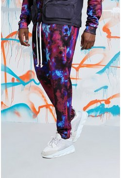 Mens Red Big & Tall Quavo Tie Dye Skinny Jogger With Print