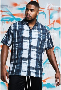 Mens Black Big & Tall Quavo Tie Dye Shirt With Print