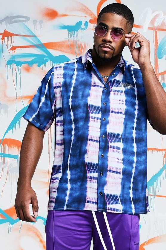 Mens Blue Big & Tall Quavo Tie Dye Shirt With Print