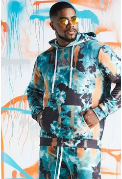 Mens Teal Big & Tall Quavo Tie Dye Hoodie With Print