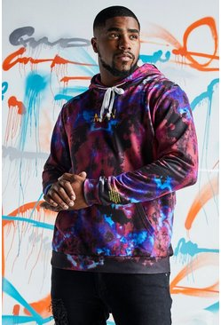 Big & Tall Hoodie in Quavo-Batik-Optik mit Print, Rot, Herren