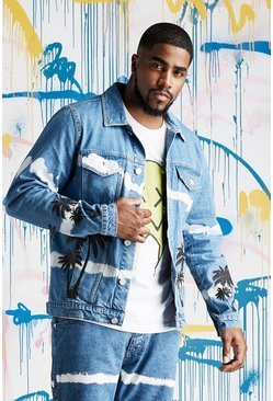 Mens Blue Big & Tall Quavo Palm Tie Dye Denim Jacket
