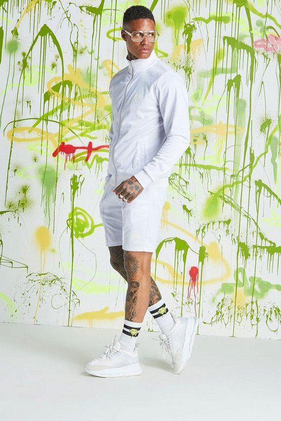 Mens White Quavo Tricot Funnel Neck Short Tracksuit