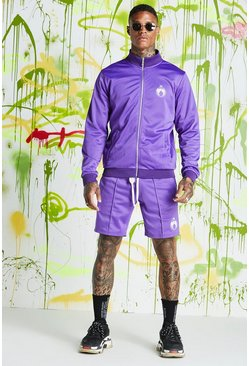 Mens Purple Quavo Tricot Funnel Neck Short Tracksuit