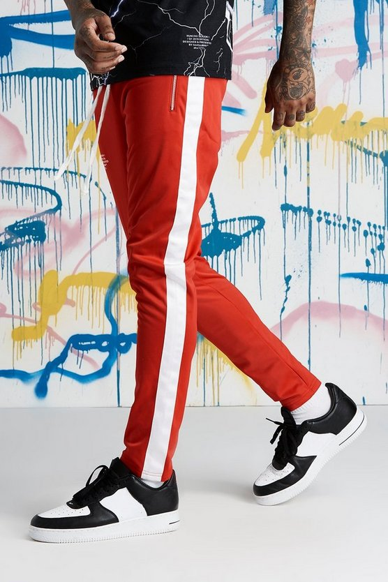 Red Quavo Tricot Joggers With Panels