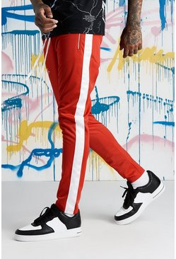 Mens Red Quavo Tricot Joggers With Panels