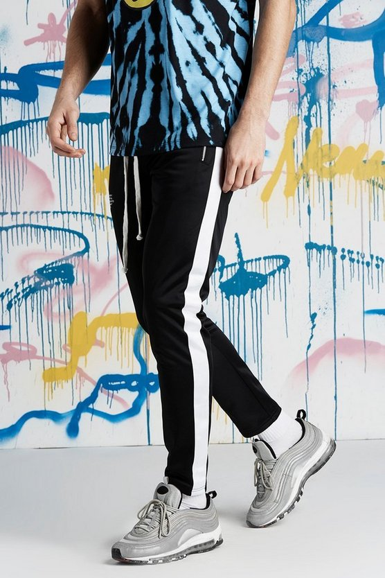 Mens Black Quavo Tricot Joggers With Panels