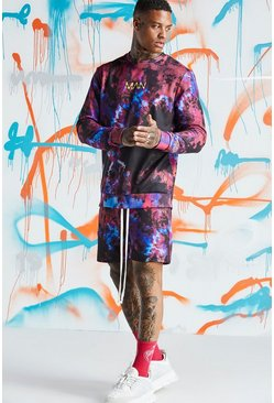Mens Red Quavo Tie Dye Sweater Short Tracksuit With Print