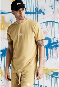 Mens Gold Quavo Velour T-Shirt With Print
