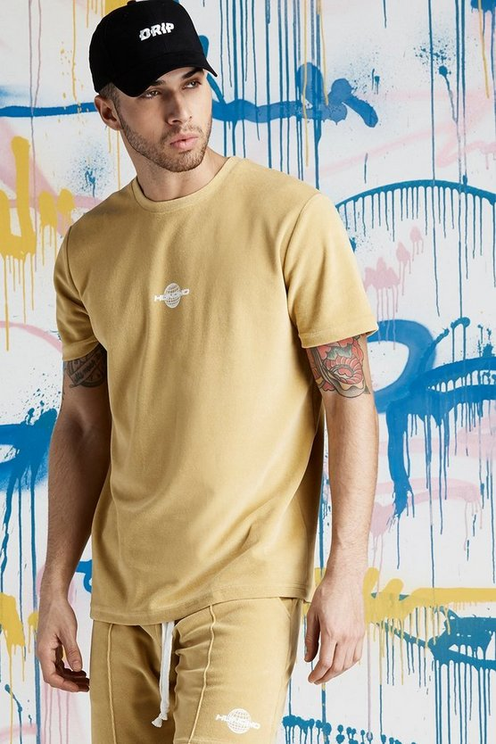 T-Shirt aus Velours in Quavo-Design mit Print, Gold, Herren