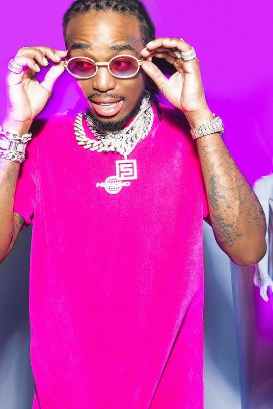 Mens Pink Quavo Velour T-Shirt With Print