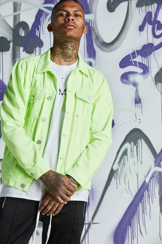 Mens Lime Quavo Distressed Denim Jacket