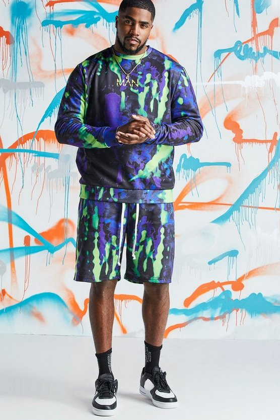 Purple Big & Tall Quavo Tie Dye Printed Short Tracksuit