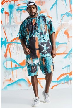 Mens Teal Big & Tall Quavo Oversized Tie Dye Short Set
