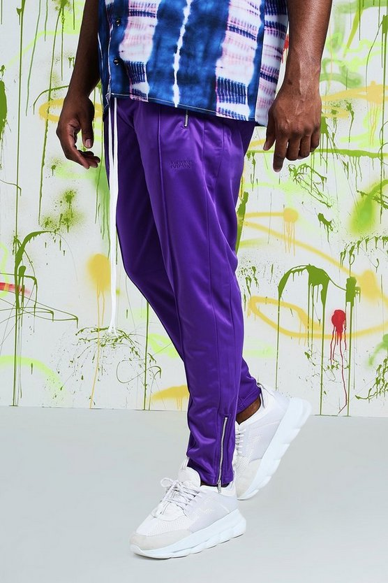 Mens Purple Big & Tall Quavo Tricot Pintuck Joggers