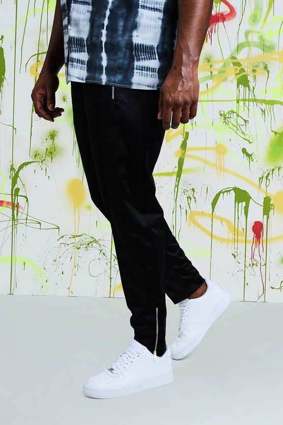 Mens Black Big & Tall Quavo Tricot Pintuck Joggers