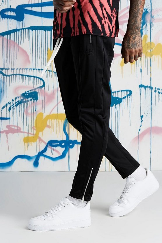 Mens Black Quavo Tricot Pintuck Panelled Joggers