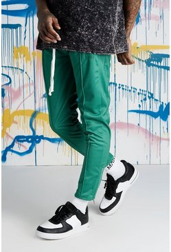 Mens Green Quavo Tricot Pintuck Panelled Joggers