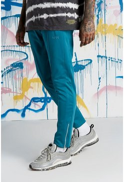 Mens Teal Quavo Tricot Pintuck Panelled Joggers