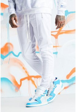 Mens White Quavo Tricot Pintuck Panelled Joggers