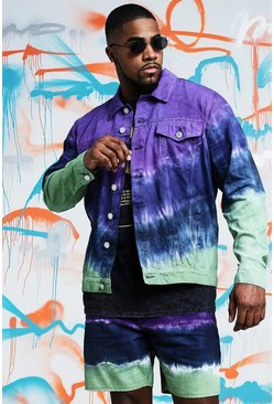 Big & Tall Jeansjacke in Quavo-Batik-Optik, Violett, Herren