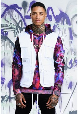 Mens White Quavo Cotton Military Vest
