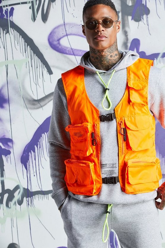 Mens Orange Quavo Nylon Military Buckle Vest