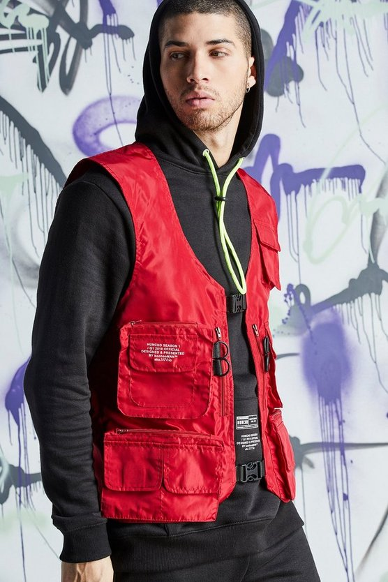 Mens Red Quavo Nylon Military Buckle Vest