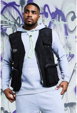 Mens Black Big & Tall Quavo Nylon Military Vest