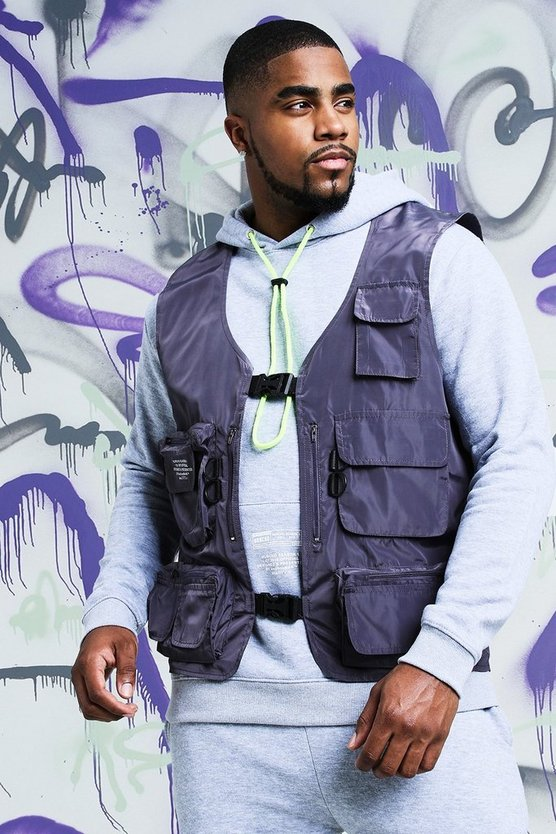 Mens Charcoal Big & Tall Quavo Nylon Military Buckle Vest
